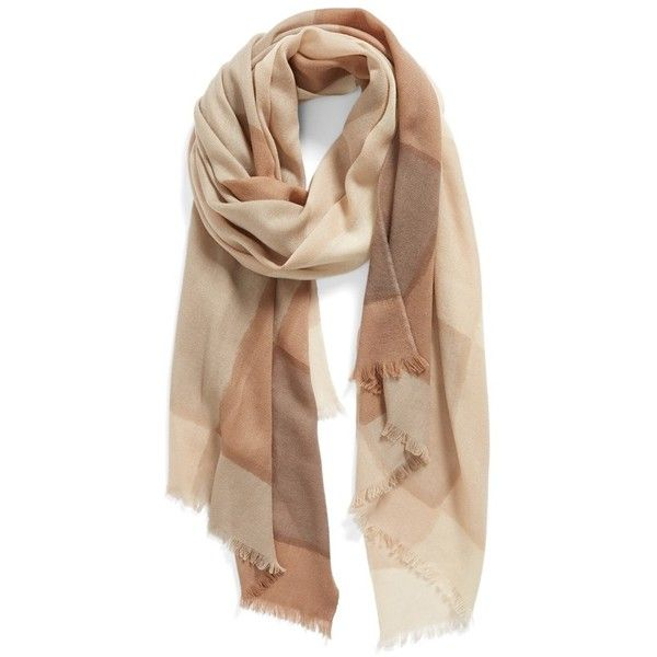 Nordstrom 'Glacial Tissue' Scarf ($98) ❤ liked on Polyvore featuring accessories, scarves, tan combo en nordstrom scarves