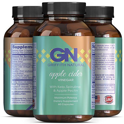 Apple Cider Vinegar -Weight Loss + Detox Supplement Capsules – Natural Benefits for Digestive system – Health – Metabolism – Increase + Improve Energy + Skin + Immunity – Griffith Naturals