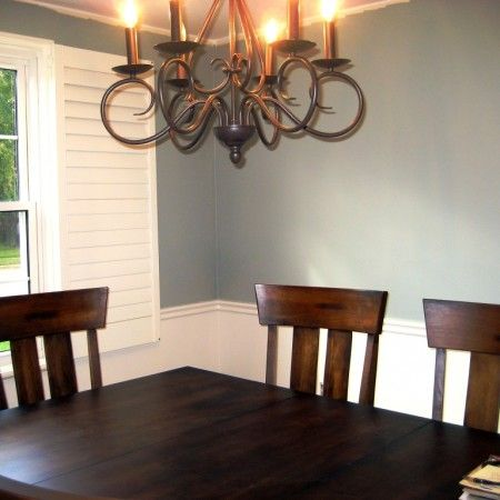 painting dining room with chair rail like the white lower half - Dining Room Color Ideas With Chair Rail