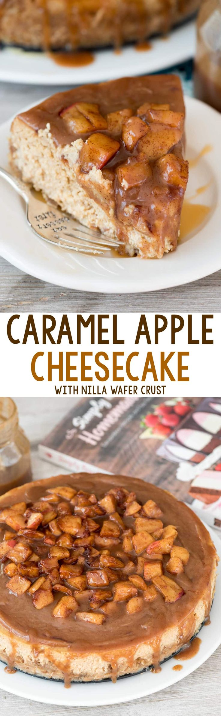 Caramel Apple Cheesecake - this scratch cheesecake recipe is FULL of caramel and apple flavor and has a Nilla Wafer Crust! It's topped with caramel and tons of apples - such a great fall dessert!