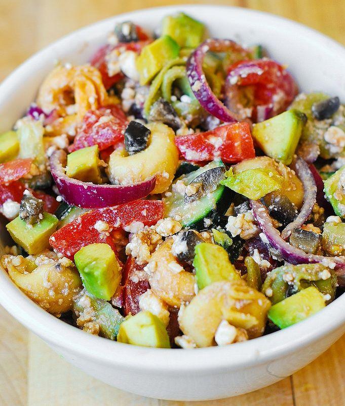 Greek Tortellini Salad: Tomatoes, Avocados, Cucumbers