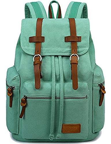 Canvas Vintage Backpack Leather Casual Bookbag Men Rucksack 68f127267dc45