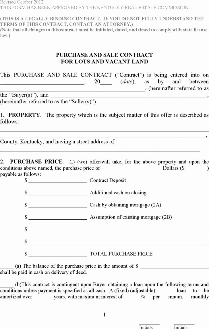 Simple Land Purchase Agreement Form Lovely Free Kentucky Purchase And Sale Contract For Lots And In 2020 Purchase Agreement Doctors Note Template Agreement Quote