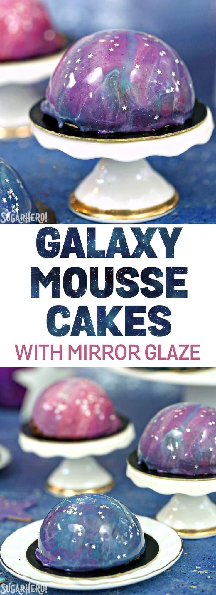 Galaxy Mousse Cakes - mini chocolate mousse cakes on a brownie, with a gorgeous galaxy mirror glaze on top! Made in partnership with @InDelight | From SugarHero.com #ad #creamernation