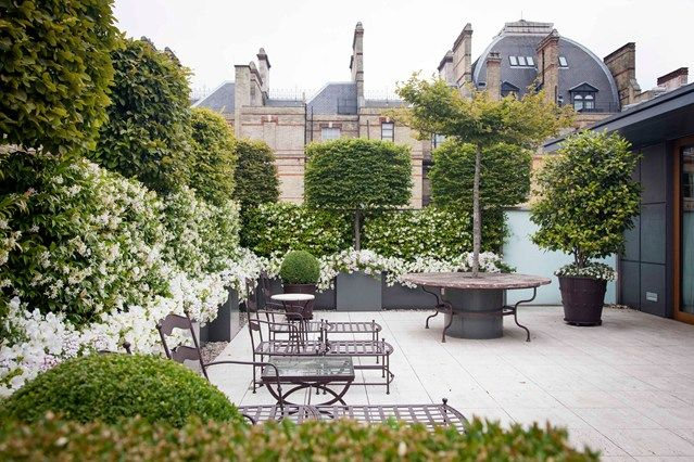 This roof terrace makes the most of its incredible architectural view while maintaining complete privacy for the creation of two 'rooms'; one for dining, the other relaxing. Seasonal flowers soften the planting, while pots are positioned to create focal points and draw the eye. A circular table with a central hornbeam trained to the shape of a parasol offers a creative shade from the sun.