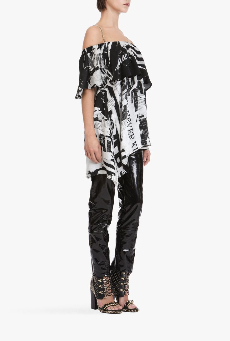 Asymetric silk top with newspaper print | Women's tops | Balmain
