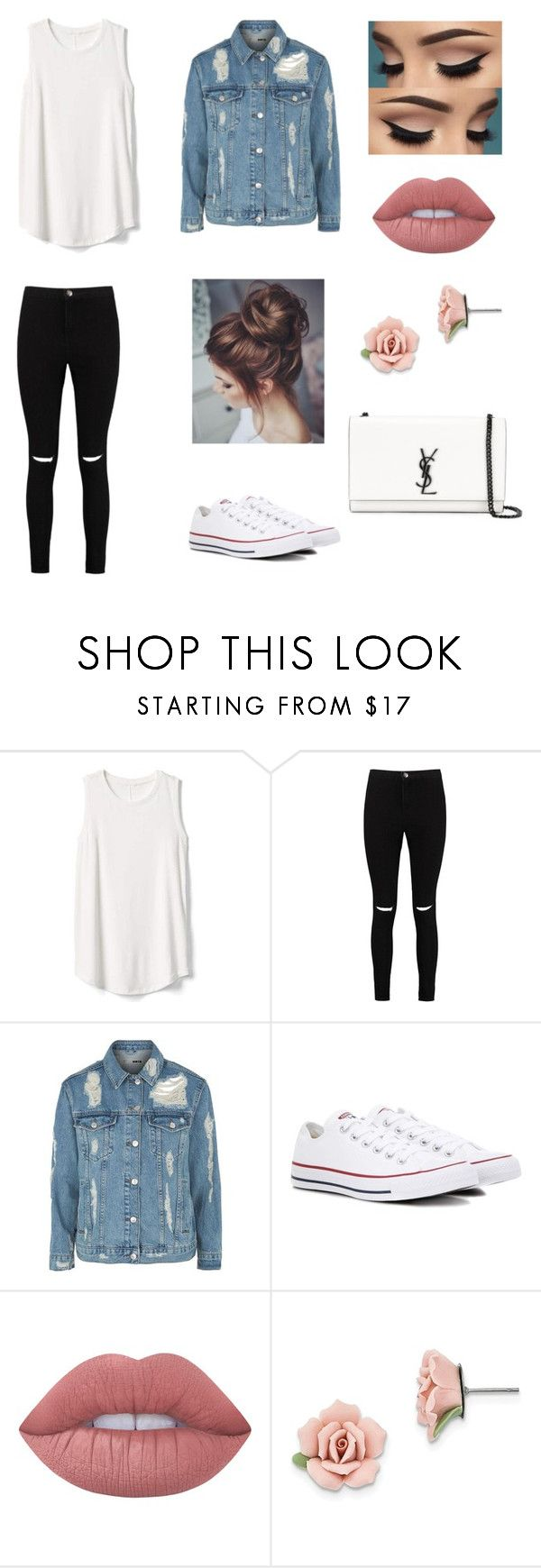 """Low-Life"" by elenialex ❤ liked on Polyvore featuring Gap, Boohoo, Topshop, Converse, Lime Crime, 1928 and Yves Saint Laurent"
