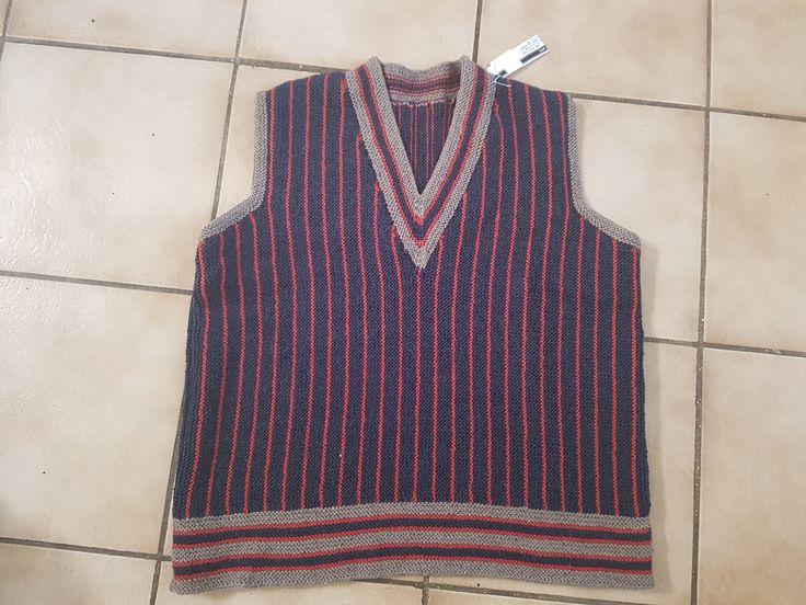 Débardeur homme rayé bleu t. M tricoté main : Pulls, gilets, sweats par tricot-et-crochet-de-binouche
