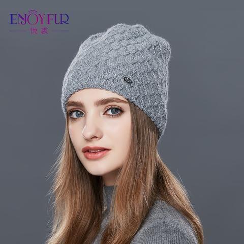 ab011eaafff ENJOYFUR Cashmere Knitted Women s Hats Diamond Lattice Winter Hat Female  Thick Cashmere Gravity Falls Cap Youth Wool Beanies