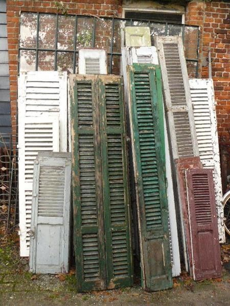 Shutters. shabby green, white and grey