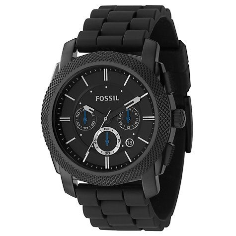 Buy Fossil FS4487 Mens Chronograph Round Black Dial Black Rubber Strap Watch Online at johnlewis.com