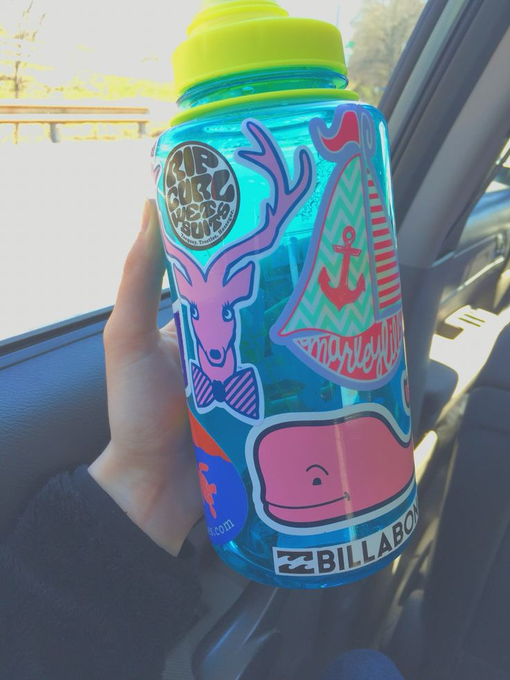 Preppy sticker water bottle