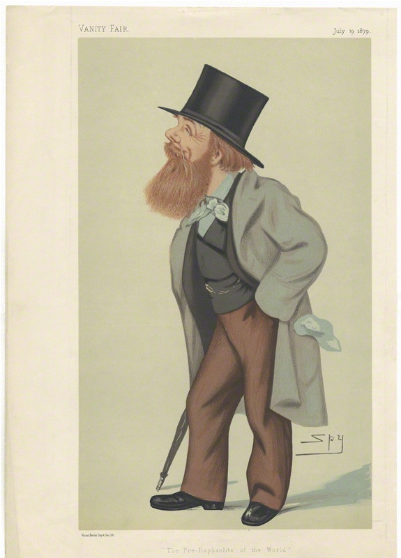 William Holman Hunt, published 19 July 1879, by Sir Leslie Ward, printed by Vincent Brooks, Day and Son. Chromolithograph. National Portrait Gallery. Given by Thora Myatt, 1976