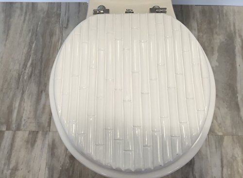 Heavy duty Metal Hinges Round Wooden Toilet seats with Bamboo Design.(Bamboo White)