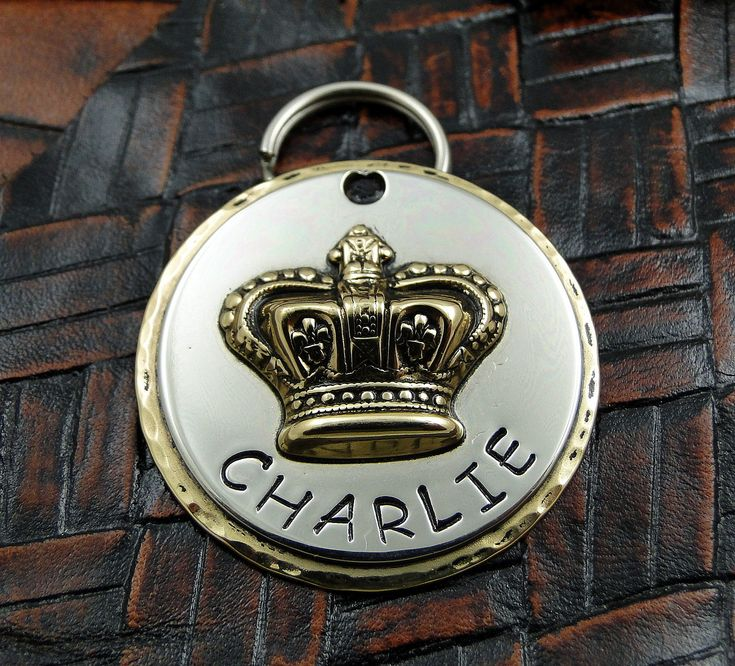 Crown Dog ID Tag Custom Handmade Personalized Dog Tag by IslandTopCustomTags on Etsy