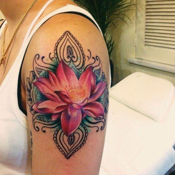 Detailed Red Lotus Flower Tattoo Design #FlowerTattooDesigns