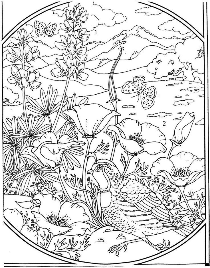 Flowers Coloring page 패턴, 새, 자수패턴