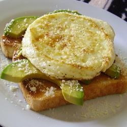 Perfect Breakfast | This recipe is for an open-faced egg sandwich with avocado and Parmesan cheese.