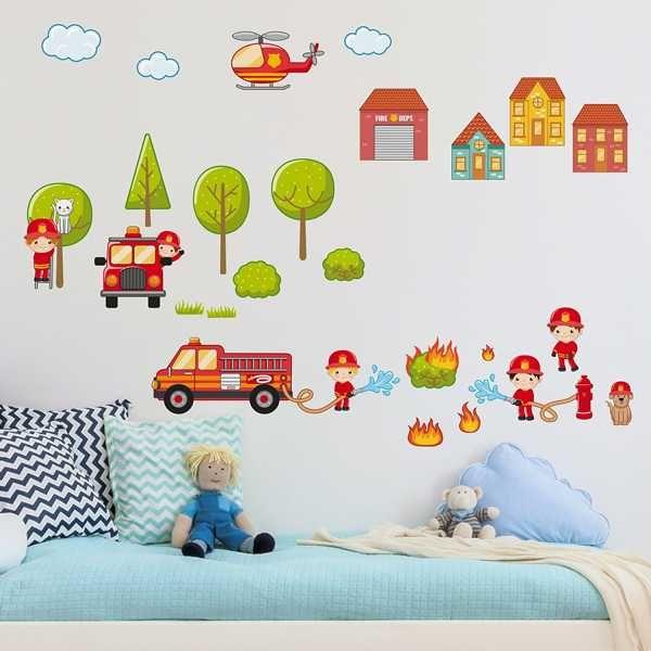 Fabulous Kinderzimmer Wandtattoo gro es Feuerwehr Set Bett