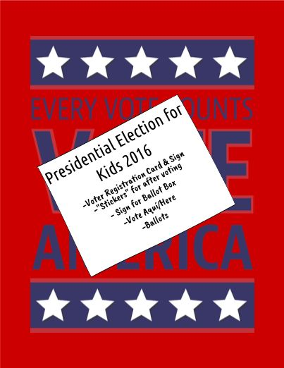 """Will you be holding a mock Presidential Election in your classroom or campus this year? Check out this Presidential Election for Kids 2016 teacher-created material. Included are signs for voter's registration, voter registration cards, voting """"stickers"""", ballot box sign and ballots, as well as a Vote Aquí/Here sign."""