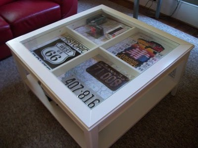 shadow box coffee table ideas pay homage to your home state with vintage license plates and maps inside