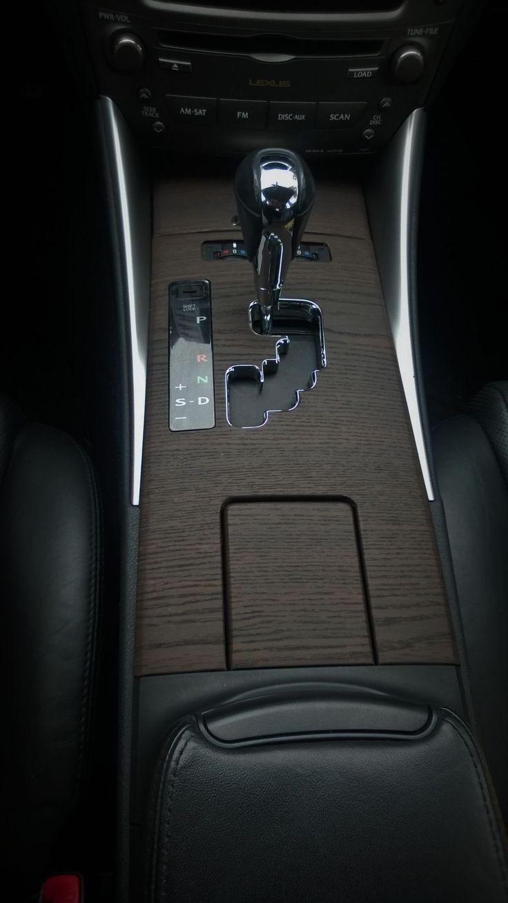 Car interior with wood vinyl wrap