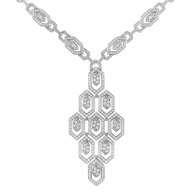 bvlgari serpenti 18k white gold full diamond pave pendant necklace bvlgari bulgari
