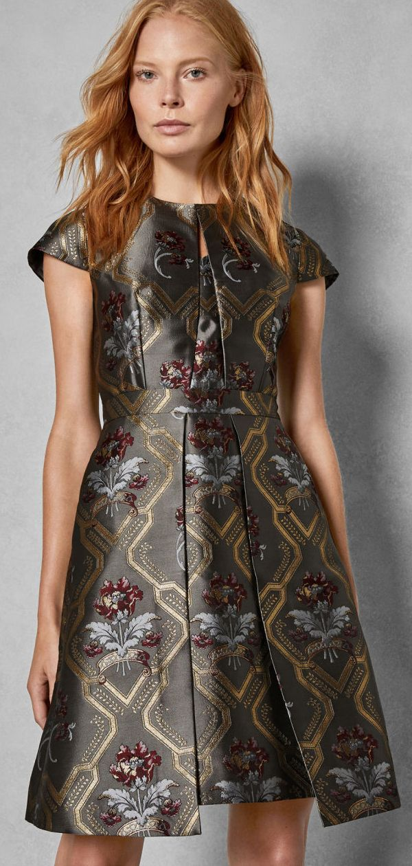 8ff851c1dce Floral Pattern Fit and Flare Dress. Skater Dress. Jacquard Floral Dress.  Jacquard Dress