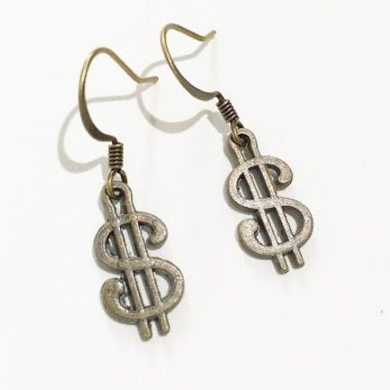 Antique Bronze Dollar Sign Earrings,Drop Dangle Earrings, Simple Bohemian Hobo Style Earrings, Gift Ideas