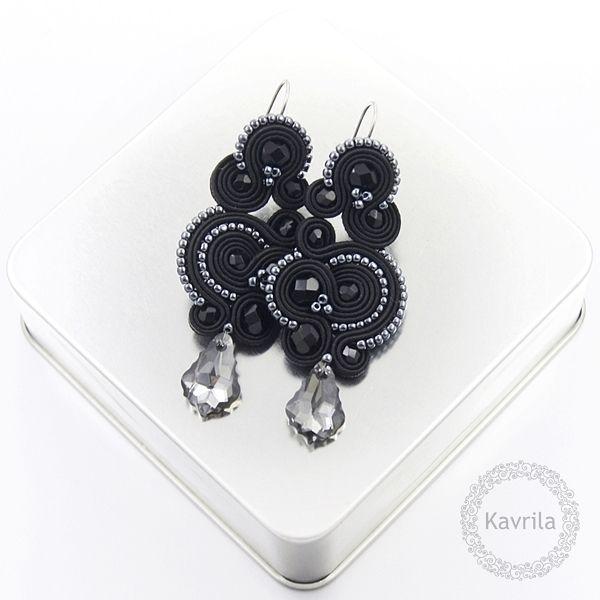 Nespire dark silver soutache - kolczyki wieczorowe sutasz KAVRILA #sutasz #kolczyki #wieczorowe #rękodzieło #soutache #handmade #earrings #night #black #darksilver #kavrila