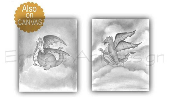 Dinosaur Wall Art Baby Boy Nursery Dragon Nursery Art SET