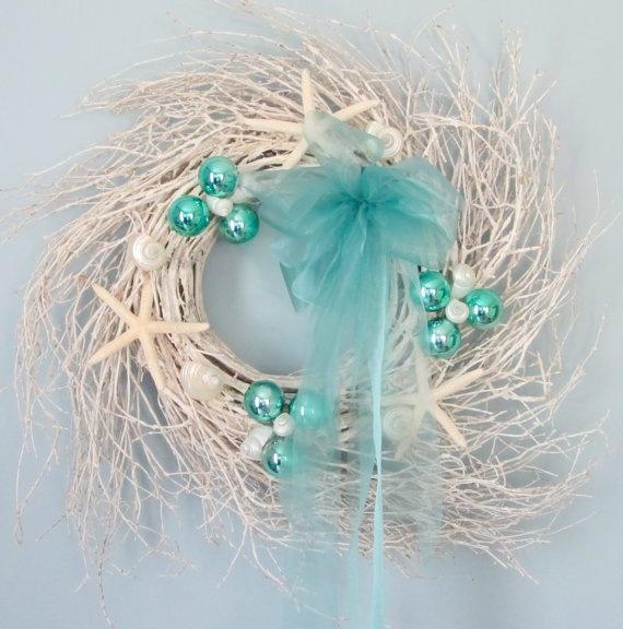 Beach Decor Christmas Wreath - Nautical Decor White Starfish Wreath in Aqua. $85.00, via Etsy.