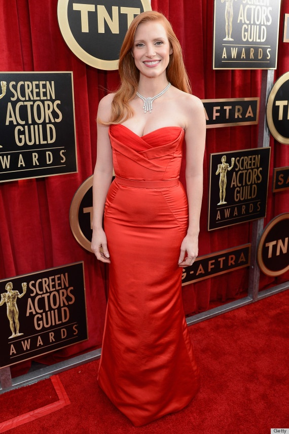 Jessica Chastain in a Alexander McQueen dress at the #SAGawards