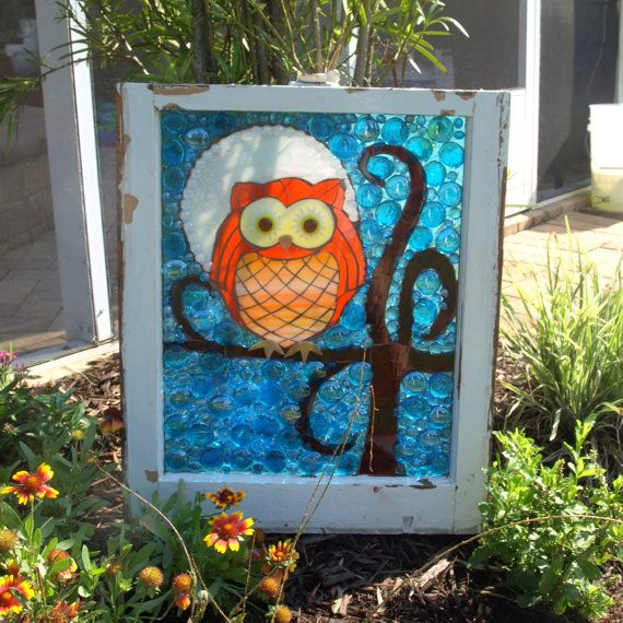 Stained Glass Mosaic Window Owl Moon Tree Repurpose