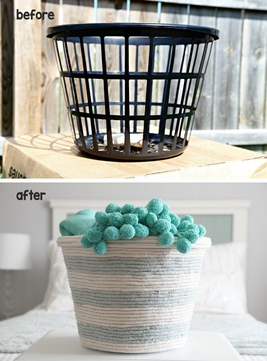 Clever up-cycle project; grab a small laundry basket from the dollar store for this one! Click HERE for the instructions