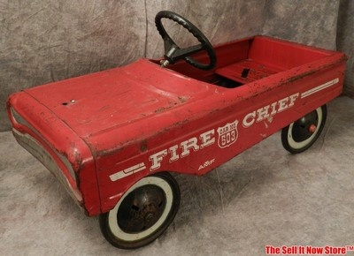 vintage red 1960s amf firechief fire chief 503 toy pedal peddle kid play car