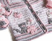 "Items similar to Knitted Baby j acket ""Funny Mouses"" / knit baby girls jacket , hand knit newborn jacket on Etsy"