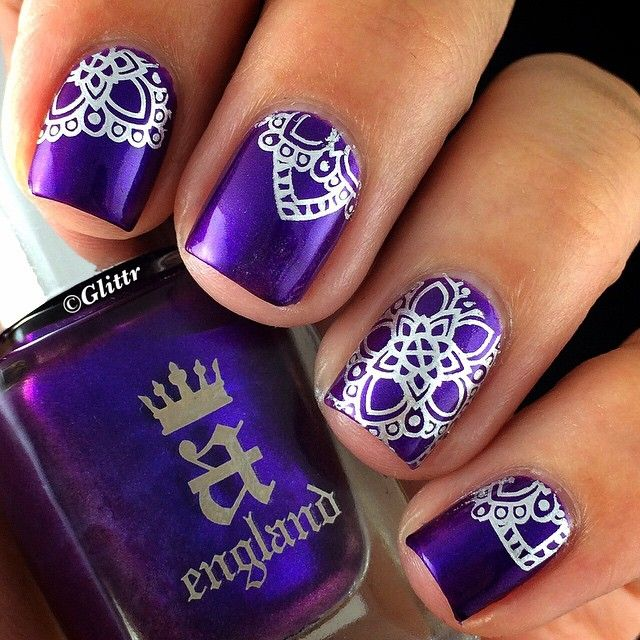 1. England - Avalon (royal purple) 2.Essie - No Place Like Chrome (silver metallic) for stamping  3. Moyou London Explorer plate no 3