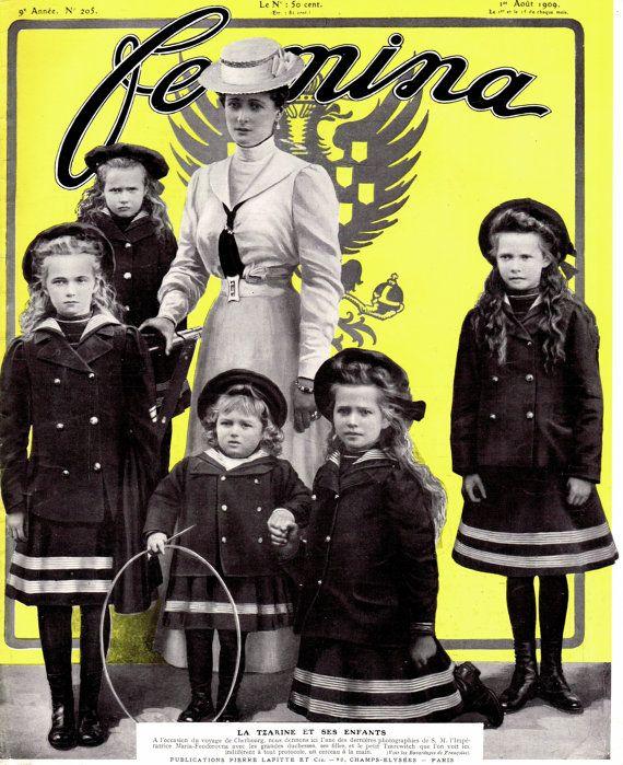1909 Original Antique French Belle Epoque Parisian Femina Magazine Cover Print Russian Empress Alexandra Feodorovna Portrait with Children