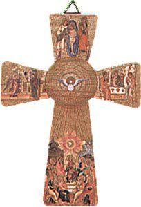 5.5Espíritu Santo Madera Crucifijo Cruz para Colgar en la pared bw179con peltre Broche de Corazón Doble 2,5cm