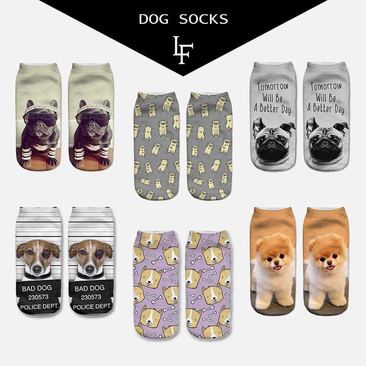 Yeni Varış 3D Pug Köpek Baskı Çorap Rahat Harajuku Sanat Çorap düşük Cut Hayvan Çorap Ayak Bileği kadın Çorap Kısa Meias Feminina PUG01