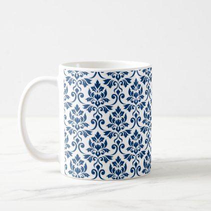 Feuille Damask Pattern Dark Blue on White Coffee Mug - pattern sample design template diy cyo customize