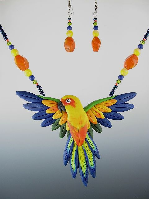 Conure parrot necklace earrings-bird jewelry by dawn