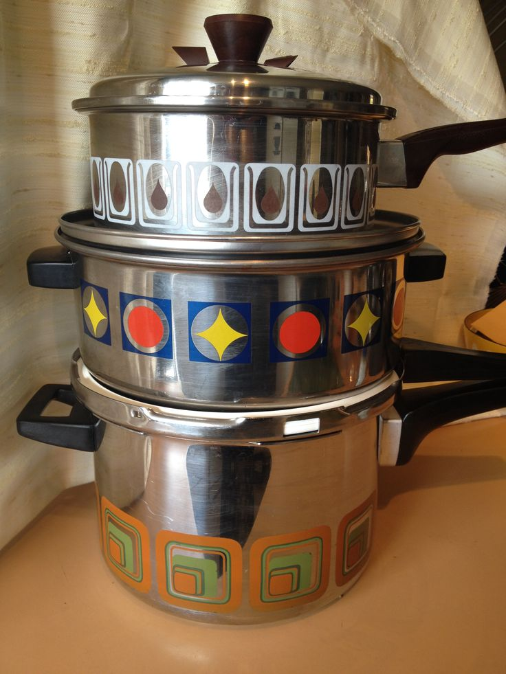 Patterned stainless steel vintage cookware.