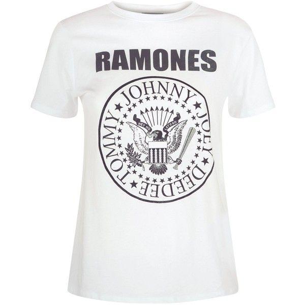 White Ramones Logo T-Shirt (1.135 RUB) ❤ liked on Polyvore featuring tops, t-shirts, white tee, white logo t shirts, logo top, logo t shirts and white top