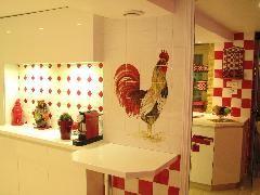 faience murale pour cuisine damier rouge et blanc avec un dcor coq carreaux 13x13