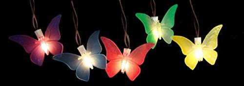 Felices Pascuas Collection Set of 10 Battery Operated LED Butterfly Garden Patio Umbrella Lights with Timer