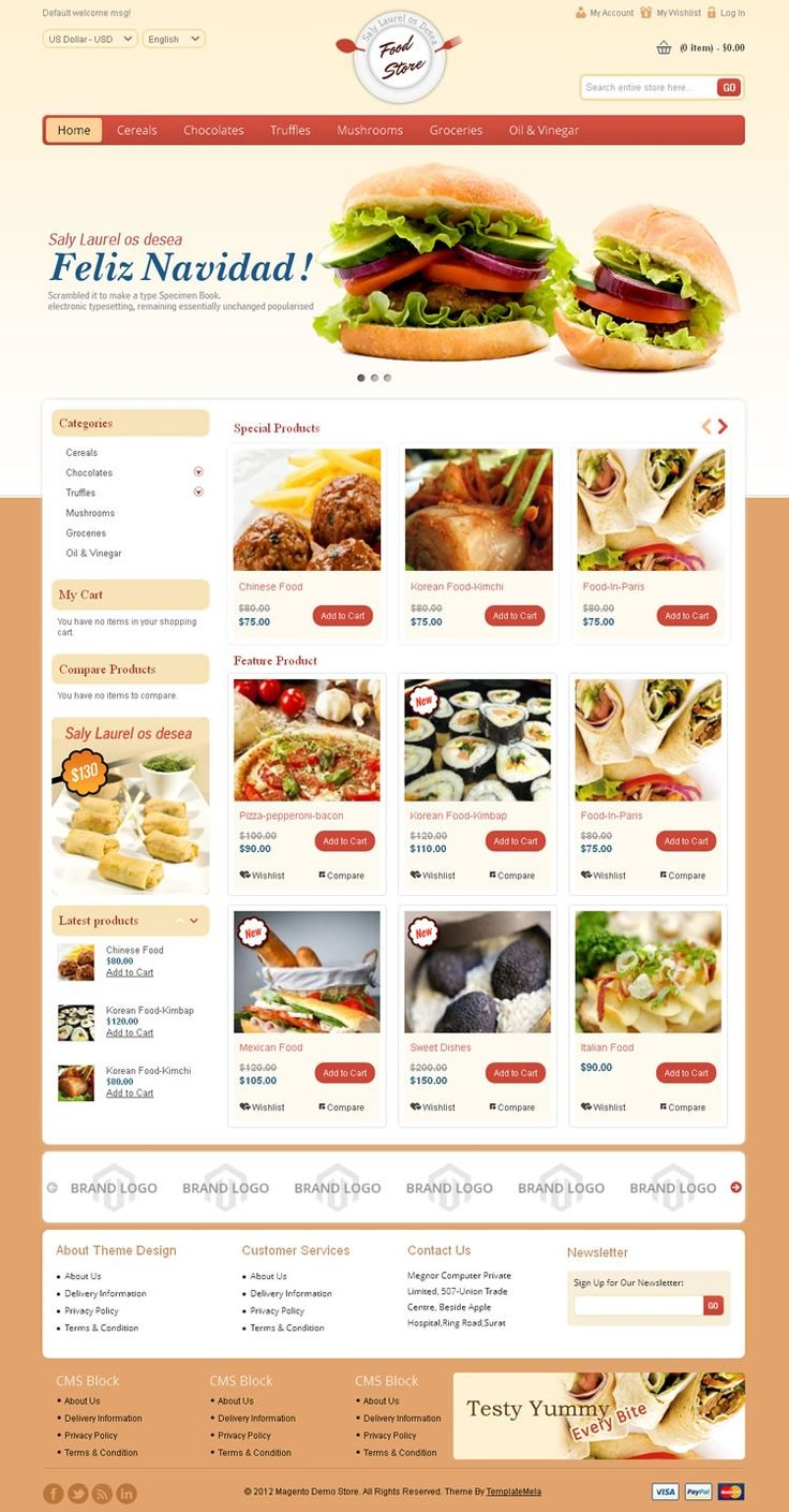 Food Store #Magento #Theme is specially design for food, drink, flowers and restaurant store. Food Store Magento Theme is looking good with it's color combination. All sub pages are customized. It is very nice with its professional look. http://www.templatemela.com/food-store-magento-theme.html