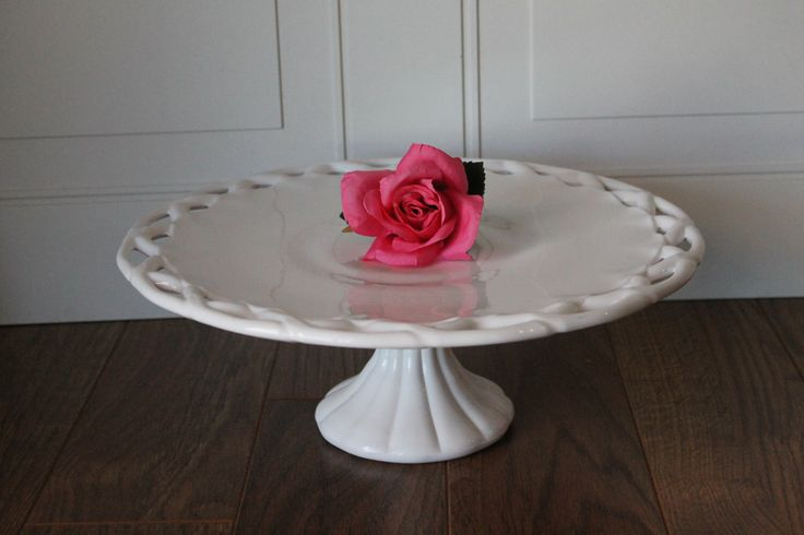 Vintage Milk Glass Cake Stand, Large Pitman Dreitzer Cake Stand, Pedestal Cake Stand With Lace Border,  Wedding Decor, Dessert Stand by Revive58 on Etsy https://www.etsy.com/ca/listing/491596802/vintage-milk-glass-cake-stand-large