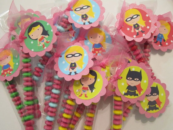 Girl Super Hero party favors by POPSnMORE on Etsy, $16.00